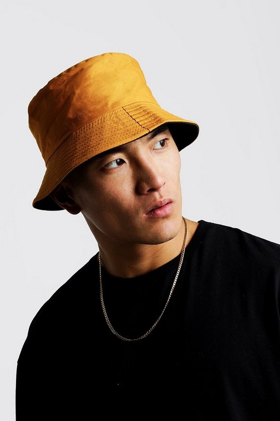 Mens Mustard Canvas Bucket Hat