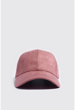 Mens Pink Suede Look Cap