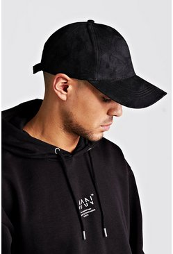 Mens Black Suede Look Cap