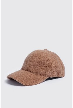 Mens Taupe Full Borg Cap