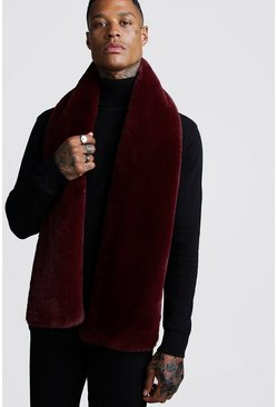 Mens Burgundy Faux Fur Scarf
