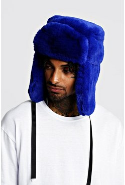 Mens Cobalt Faux Fur Trapper Hat