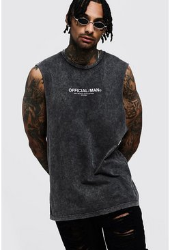 Herr Charcoal Official MAN Acid Wash Drop Armhole Tank