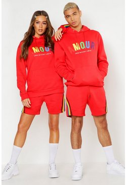 Red Pride Loose Fit Short Tracksuit With Amour Print