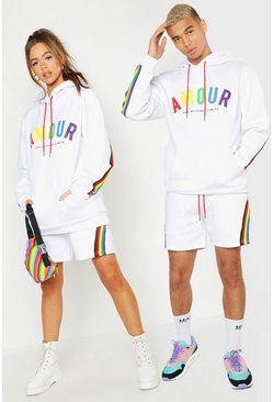 White Pride Loose Fit Short Tracksuit With Amour Print