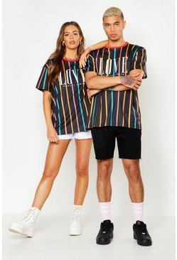 Herr Black Pride Loose Fit Stripe T-Shirt With Love Print