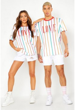 Mens White Pride Loose Fit Stripe T-Shirt With Love Print