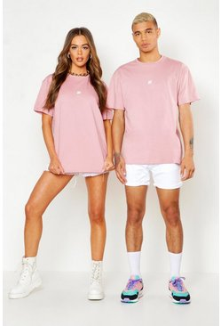 Mens Dusky pink Pride Loose Fit T-Shirt With Back Print