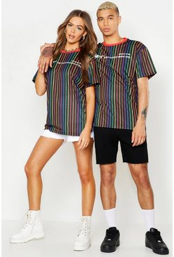 Herr Black Pride Loose Fit Stripe T-Shirt With Unity Print