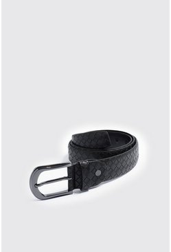 Mens Woven Effect Black Buckle Belt