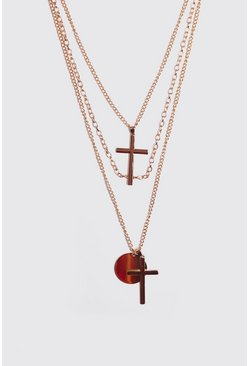 Mens Gold Multi Layer Cross Necklace