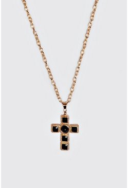 Mens Gold Black Stone Detail Cross