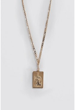 Mens Gold Emboss Pendant Chain Necklace