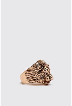Mens Gold Lion Signet Ring