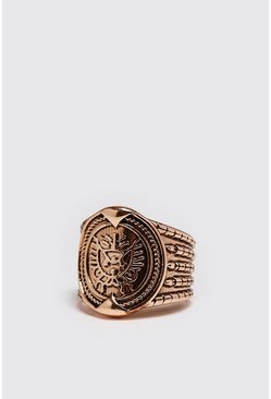 Mens Gold Emboss Detail Signet Ring