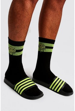 Mens Neon-green Stripe Slider