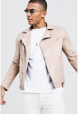 Mens Taupe Faux Suede Biker Jacket