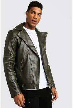 Khaki Faux Leather Biker Jacket