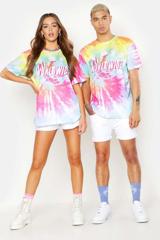 Mens Pink Pride Tie Dye T-Shirt With Front & Back Print