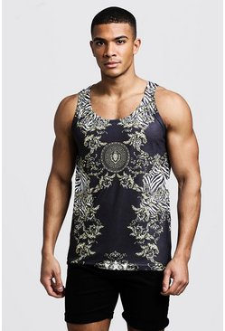 Mens Black Baroque Zebra Print Vest