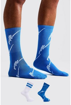 Mens Blue MAN Script Two Pack Socks