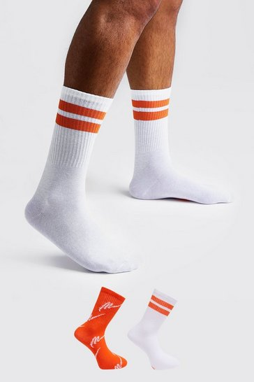 Mens Orange MAN Script Two Pack Socks