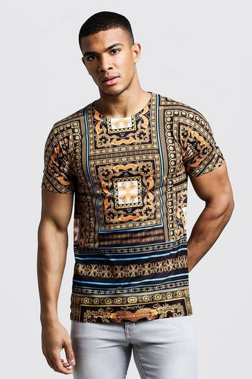 Mens Gold Tile Baroque Print T-Shirt