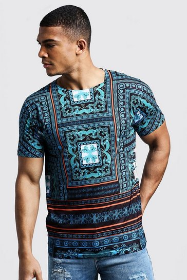 Mens Blue Tile Baroque Design T-Shirt