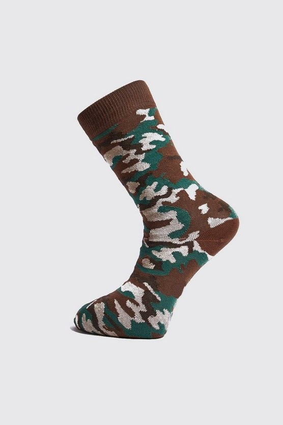 Mens Camo Knit Sock
