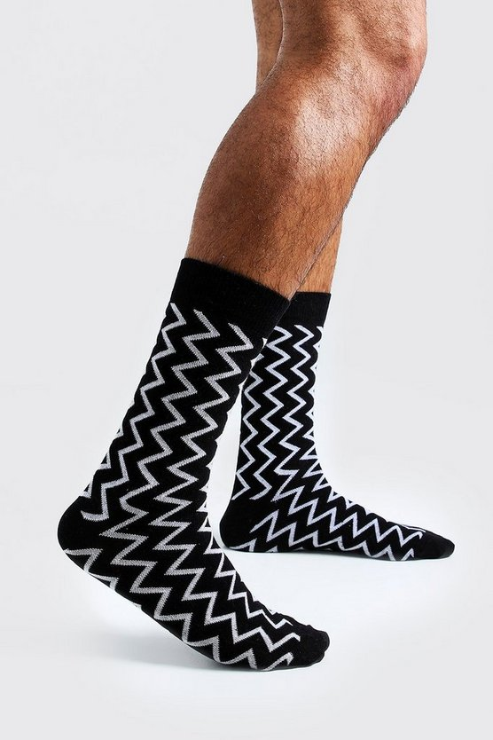 Mens White Zig Zag Knit Sock