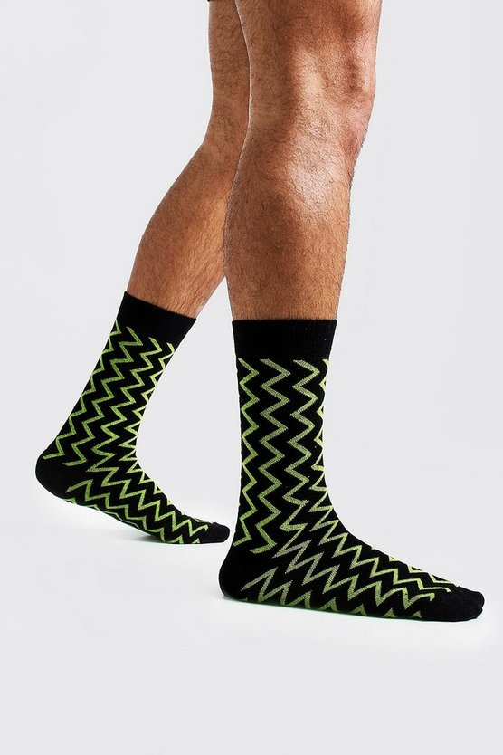 Mens Green Zig Zag Knit Sock