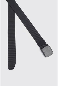 Herr Black Covened Buckle Tape Belt