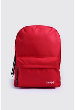 Mens Red MAN Print Nylon Backpack