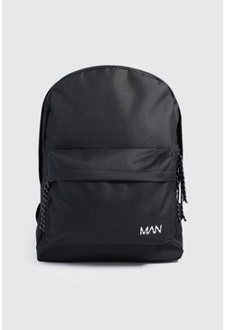 Mens Black MAN Print Nylon Backpack