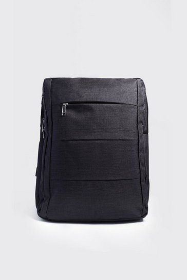 Mens Black Front Panel Backpack