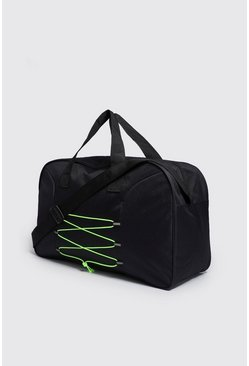 Mens Neon-green Cord Detail Holdall