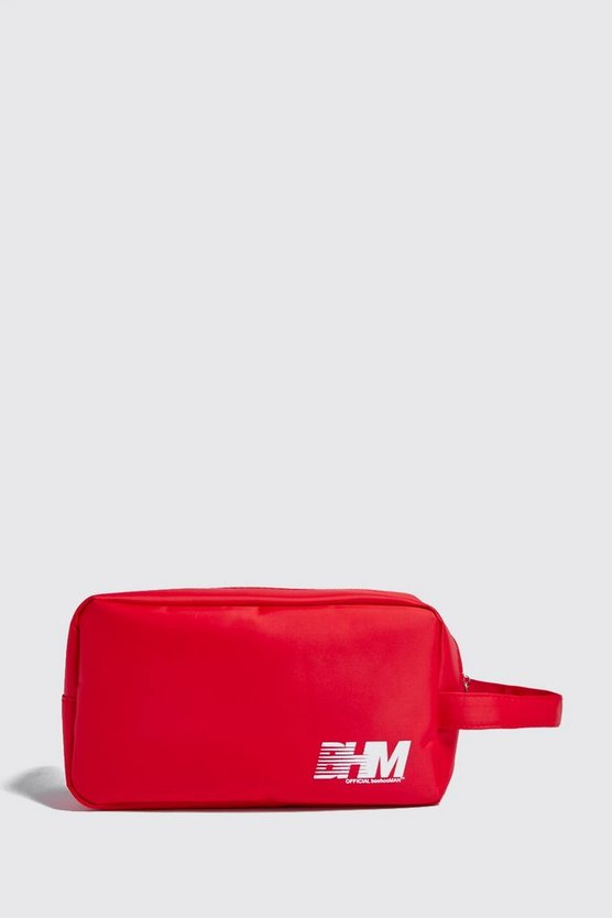 Mens Red MAN Print Washbag