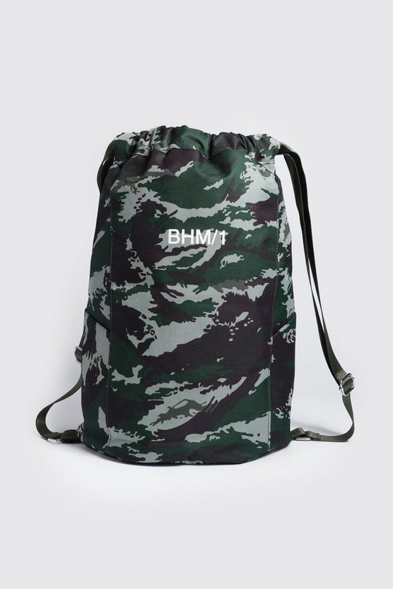 Mens Camo MAN Drawstring Backpack