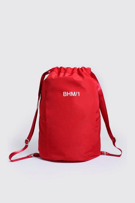 Red MAN Drawstring Backpack