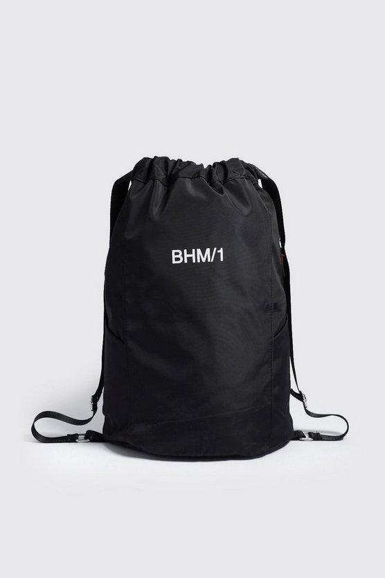 Black MAN Drawstring Backpack