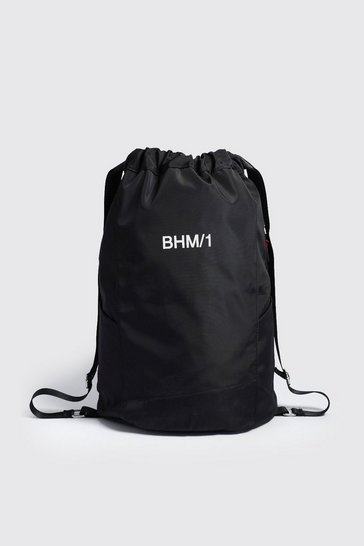 Mens Black MAN Drawstring Backpack