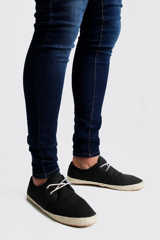 Mens Black Lace Up Canvas Espadrille