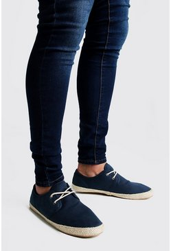 Herr Navy Lace Up Canvas Espadrille