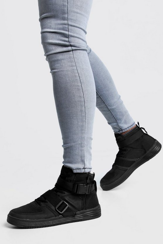 Black Buckle Detail Hi Top