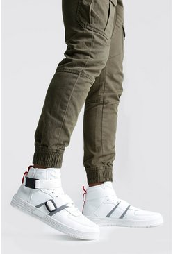 Mens White Buckle Detail Hi Top
