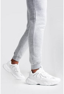 White Reflective Edge Chunky Trainer