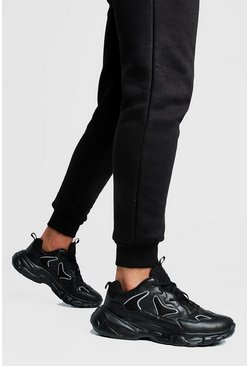 Herr Black Reflective Edge Chunky Trainer