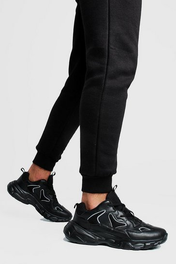 Mens Black Reflective Edge Chunky Trainer