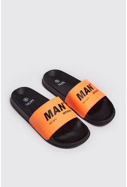 Mens Neon-orange Neon MAN Print Slider
