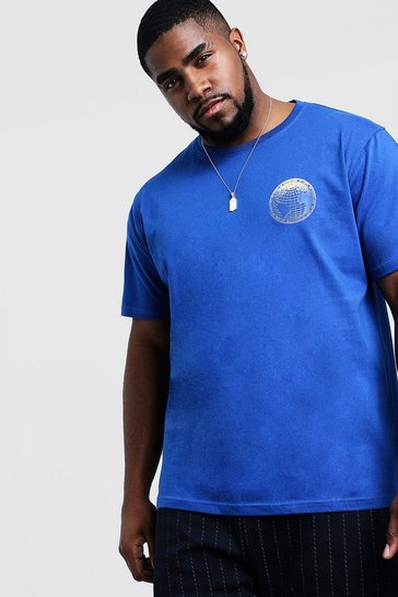 Mens Cobalt Big & Tall T-Shirt With Gradient Print